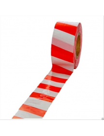 Лента сигнальная (красно-белая)50мм*150мп