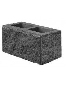 Пескоблок 3 стороний- серый пустотелый 390*190*188